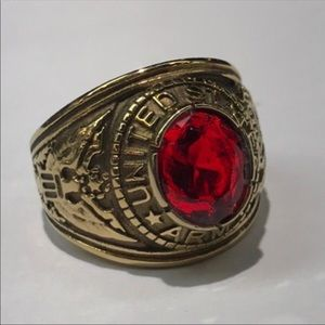 Men's US Army Red Zirconia Ring Size 12